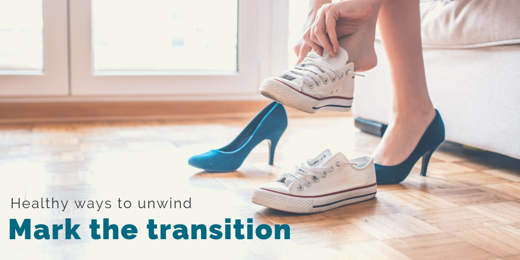 """""""Healthy ways to unwind: Mark the transition"""". A woman changes from office heels to sneakers."""